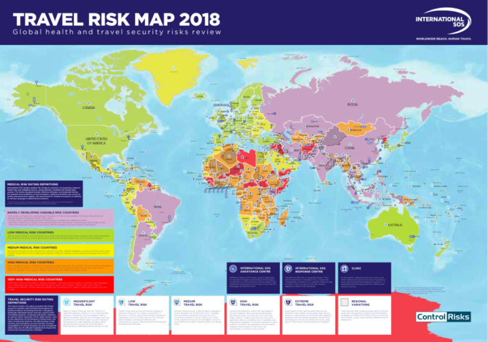 Travelrisk Map 2018