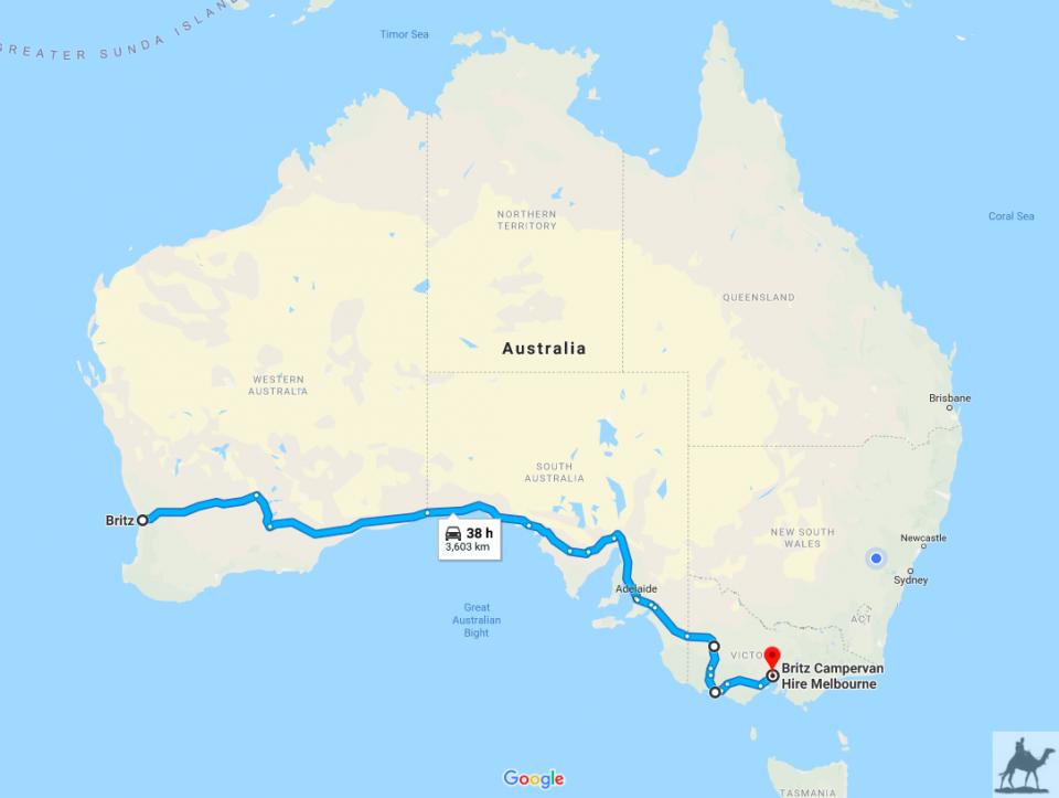 Meine Strecke von Perth nach Melbourne